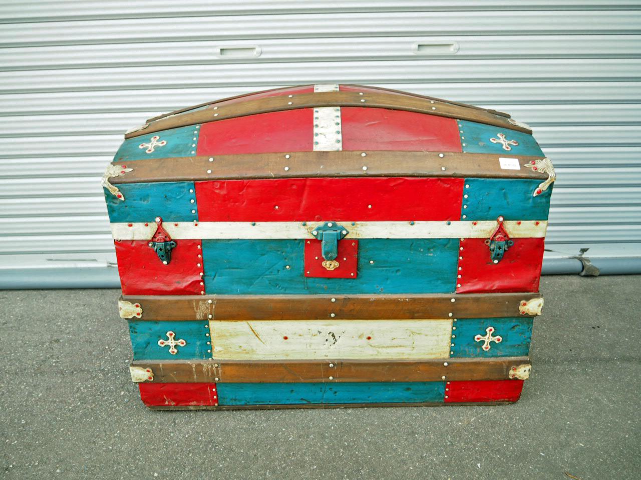 品番2442 トランクボックス 宝箱 船舶用 大型サイズ 木製 trunk box ヴィンテージ 011