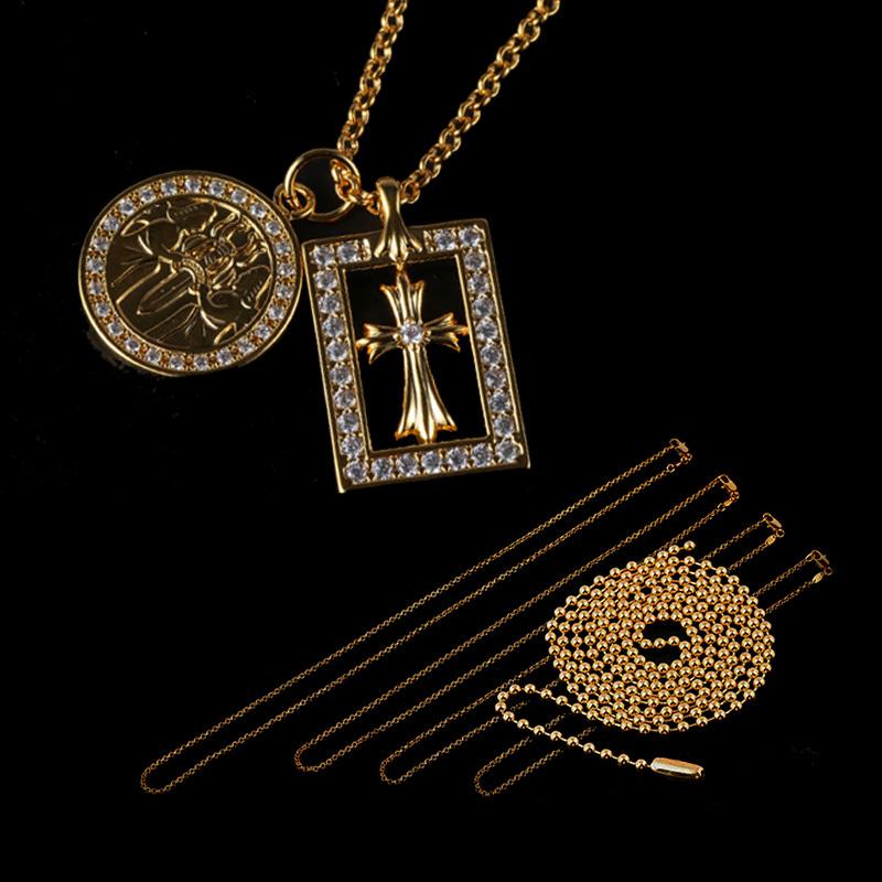 22KGP フレームドオープンベイビー&エンジェルメダル チェーンSET