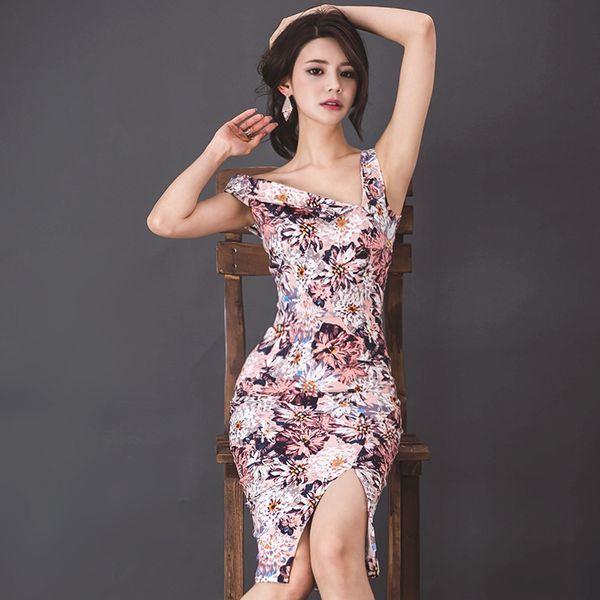 a6f84b8c58497 ワンショルダーがセクシーな花柄美ラインワンピースドレス