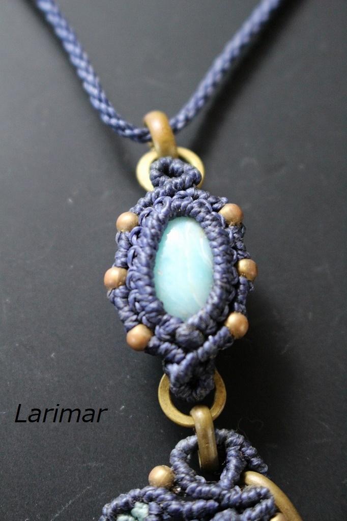 Boulderopal Larimar brass wire macrame pendant