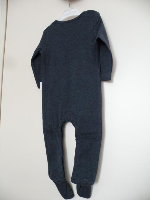 オーガニックコットン 足つき長袖ロンパース(12-18か月) ベビー服 メランジネイビー 【purebaby】