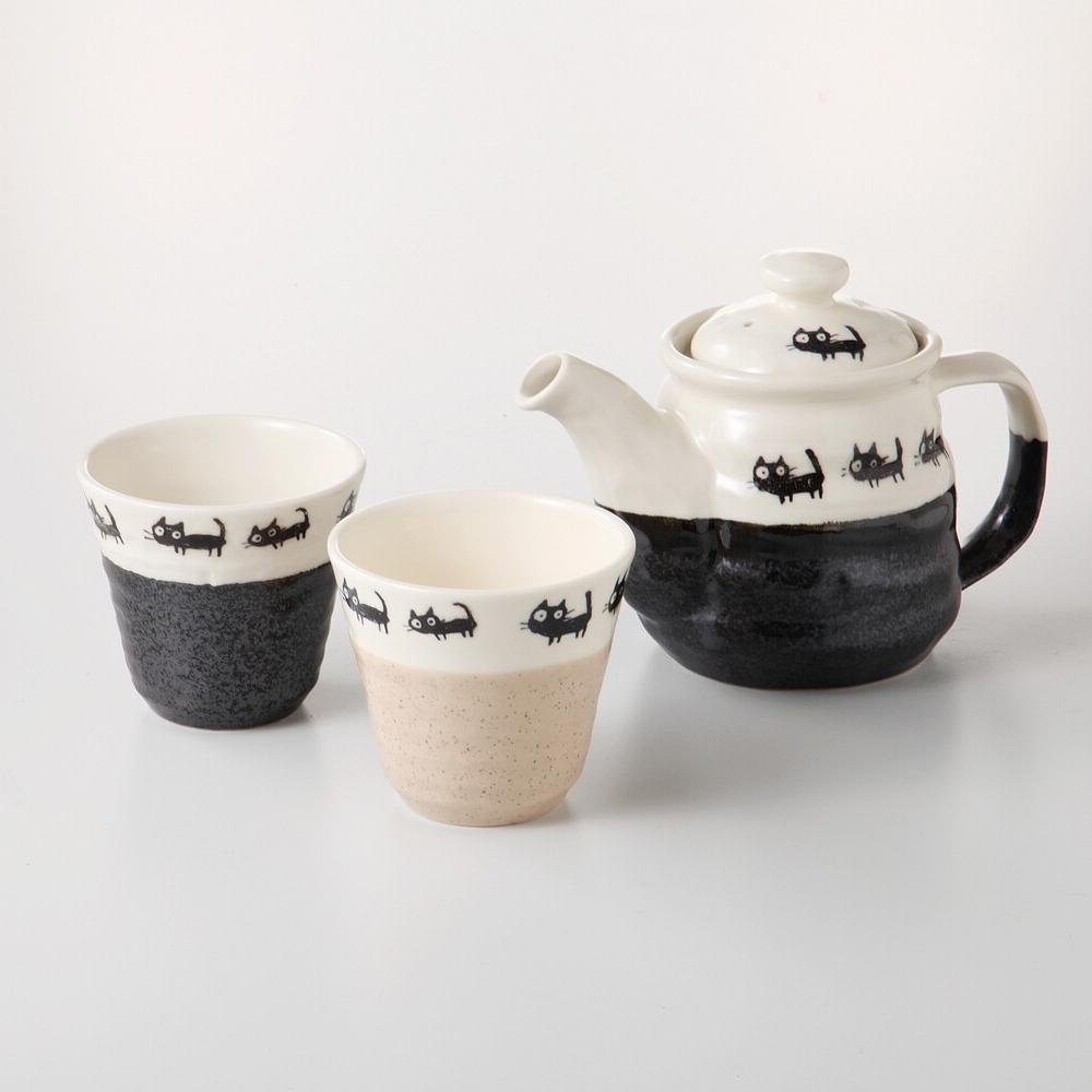 猫茶器セット(美濃焼黒ねこ茶器揃)