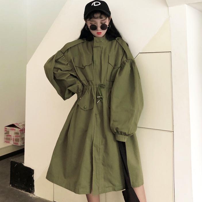 【送料無料】くびれを作ってワンピース風♡ ミリタリージャケット ロング バルーン袖