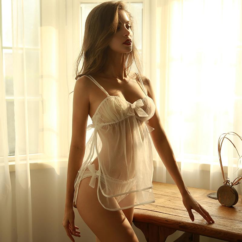 【ルームウェア・パジャマ】2点セット美人度アップ透かし彫りレース刺繍セクシーランジェリー24607581