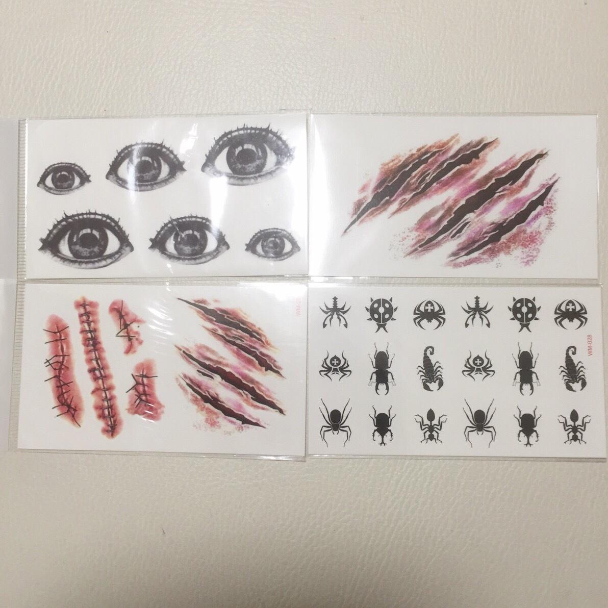 【クール系】タトゥーシール【血】傷跡2枚&目&虫