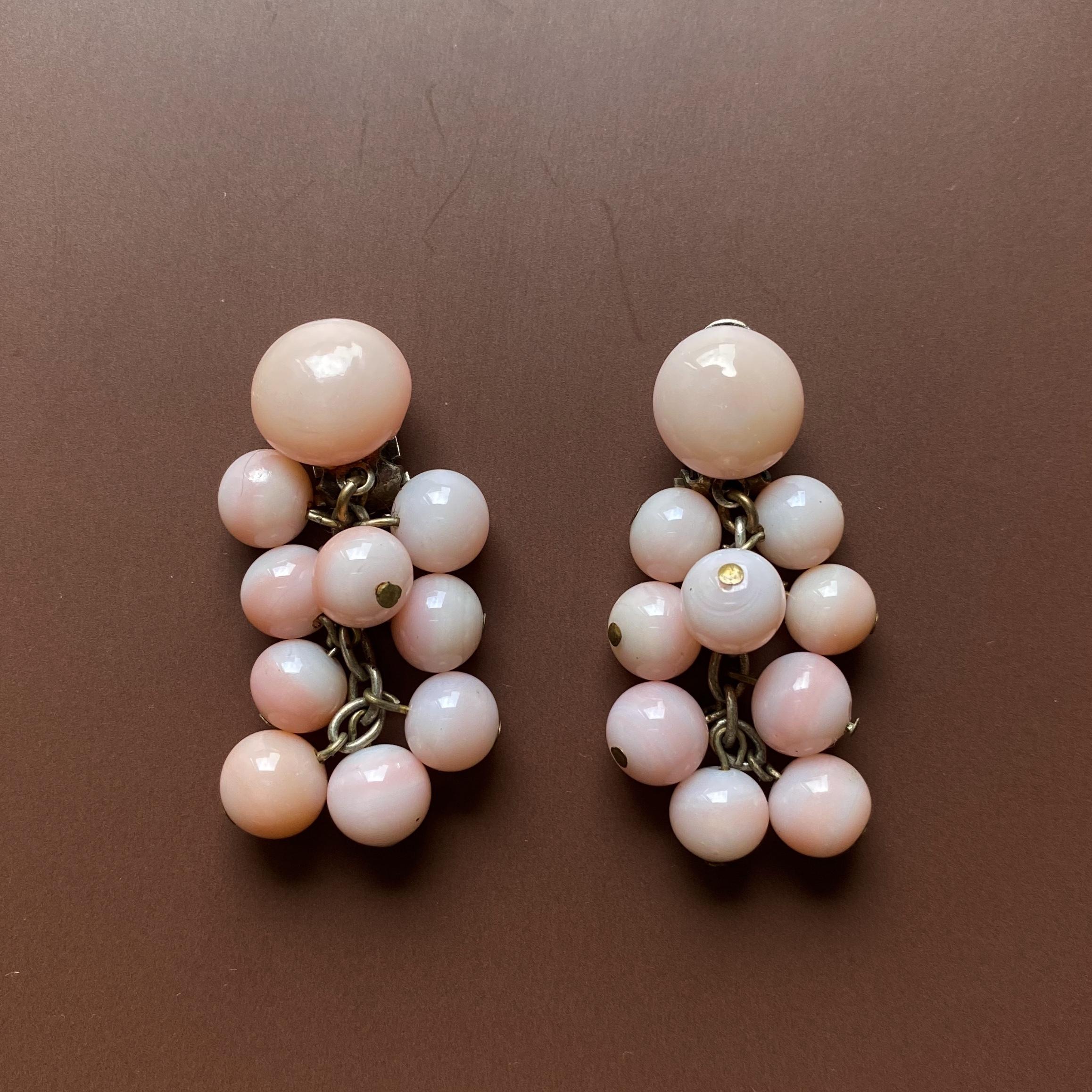 France ピンクグラスのブーケイヤリング /  ac0116