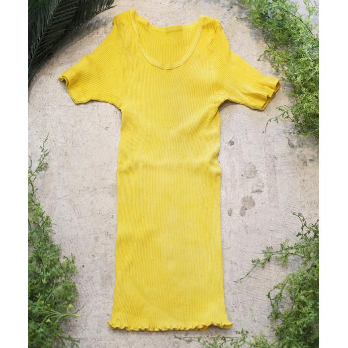 マリーゴールド染めオーガニックコットン100%半袖リブカットソー~黄檗色(きはだいろ)~