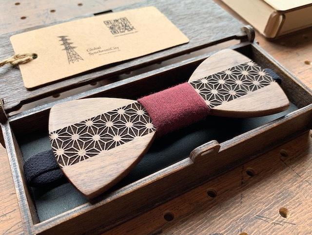 木の蝶ネクタイ #麻の葉×久留米絣 - 画像4