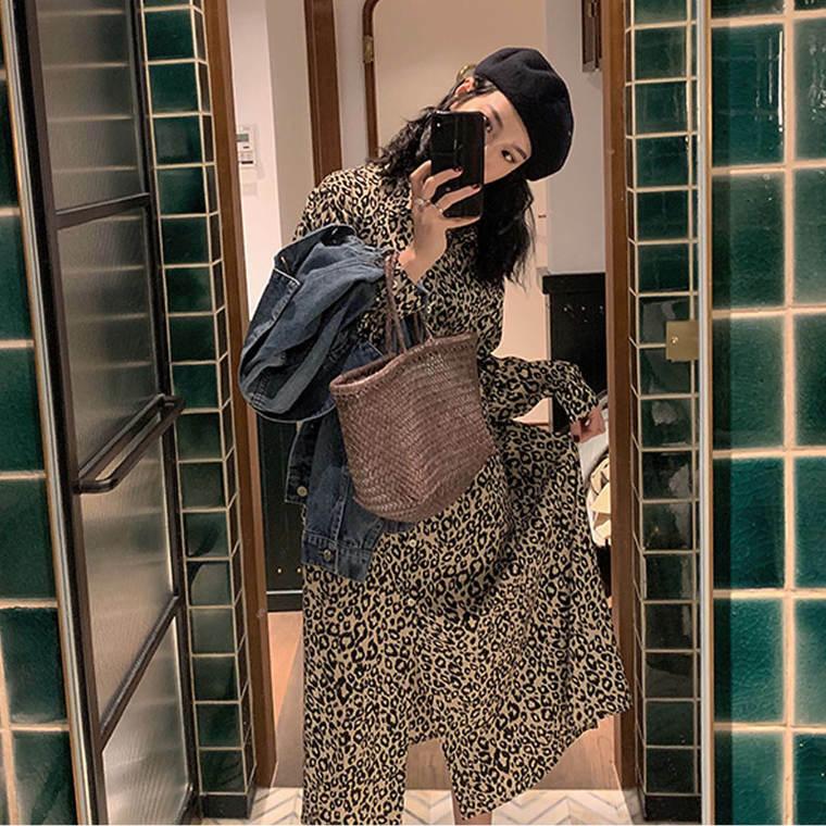 【送料無料】 着映えワンピ♡ レオパード ヒョウ柄 シフォン ロング シャツ ワンピース フレンチレトロ