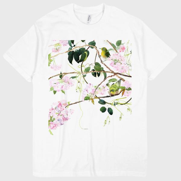 八重桜とメジロ  Tシャツ