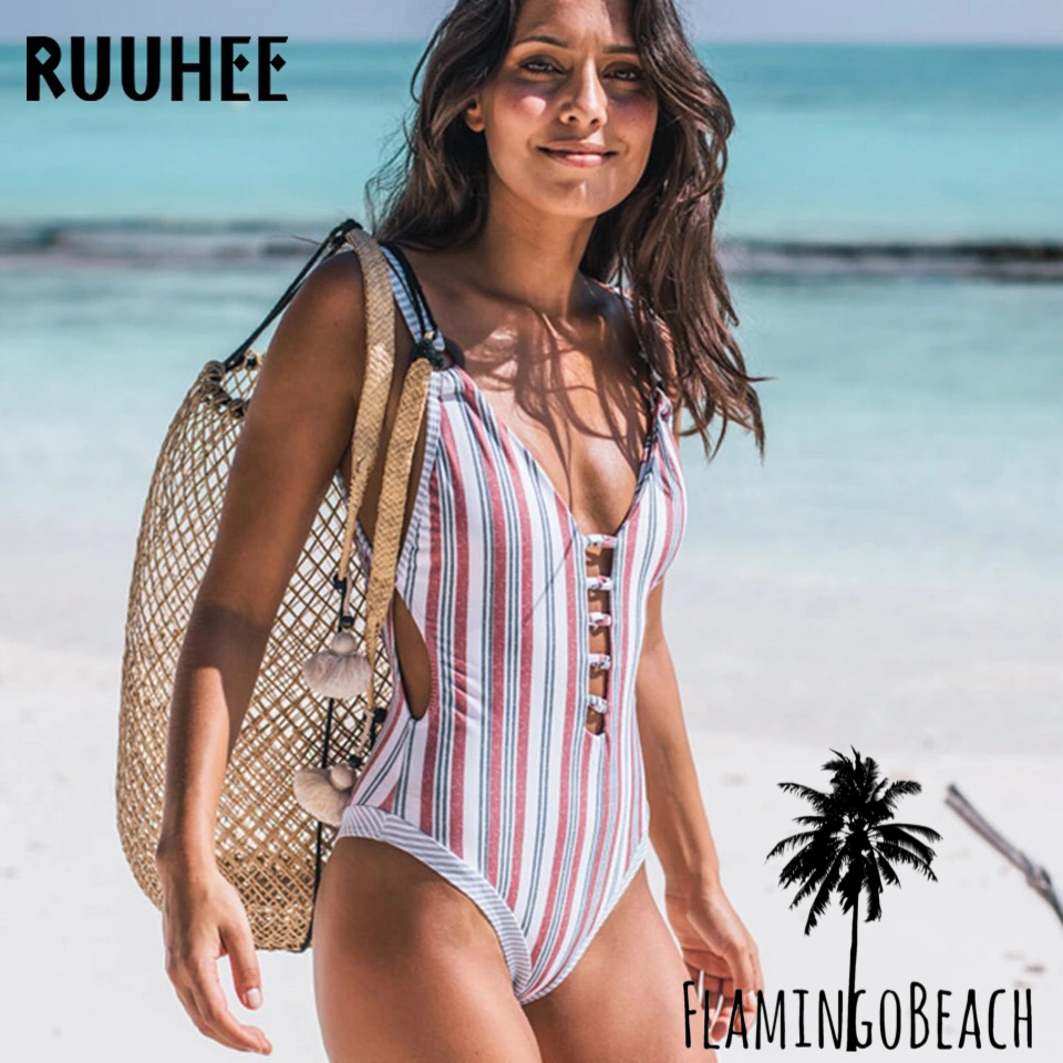 【FlamingoBeach】mix stripe monokini モノキニ