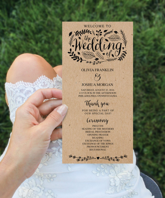 【Woodland】ゲストが何名でもこの値段♥︎自分で作る海外風ウェディングプログラム表キット│結婚式