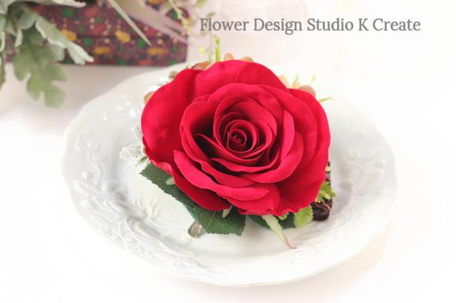 ビロードの赤い薔薇とBRBE紫陽花の髪飾り フローレス レッド ヘアクリップ