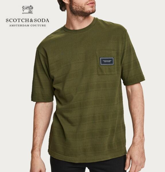 スコッチ&ソーダ SCOTCH&SODA 半袖 Tシャツ クルーネック ボーダー ジャガード Tシャツ カーキ 292-14437