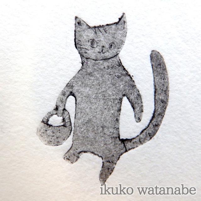 版画カード - 猫・お買い物 - わたなべいくこ - no9-wat-12