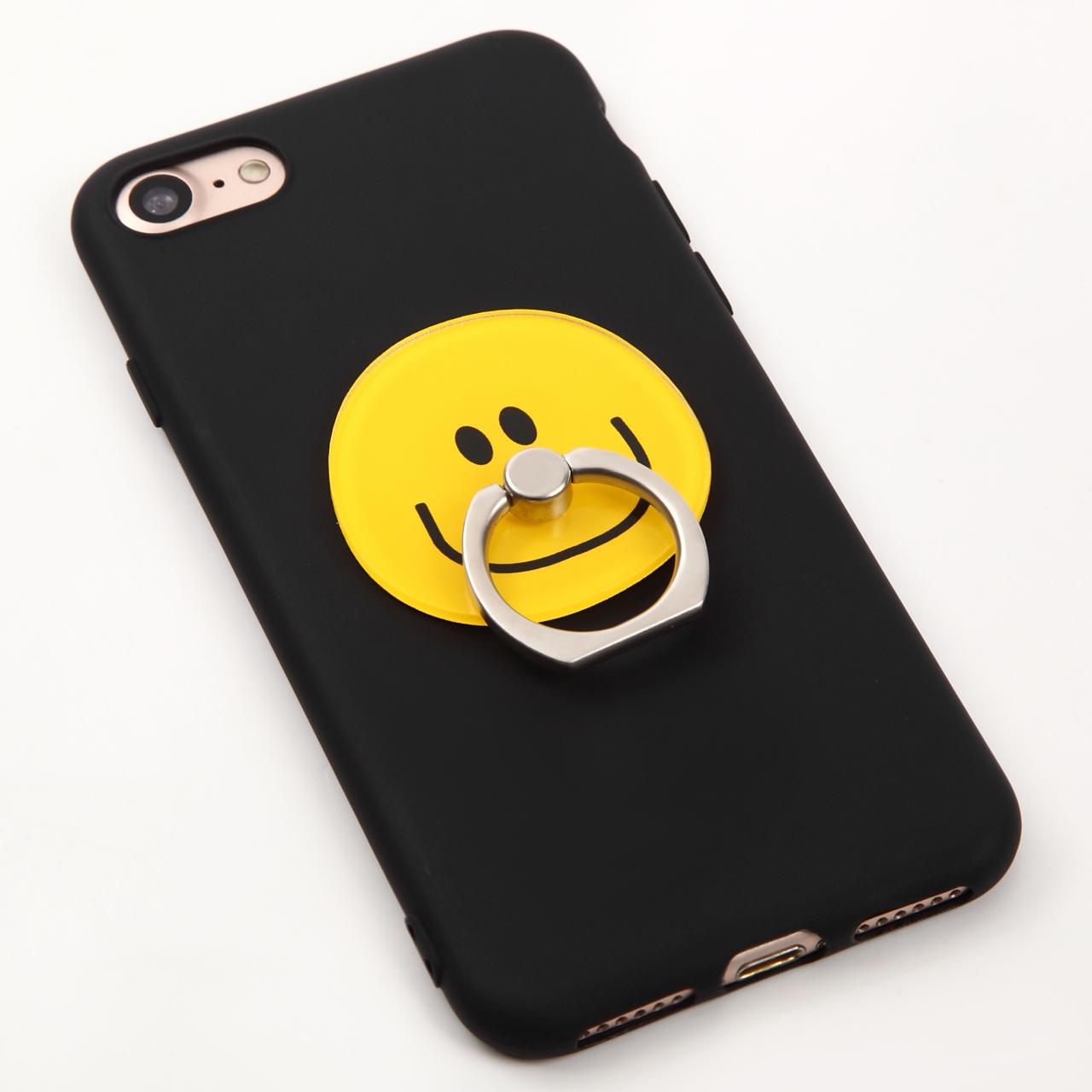 【即納★送料無料】ブラックソフトケース かわいいスマイル バンカーリング付 iPhoneケース