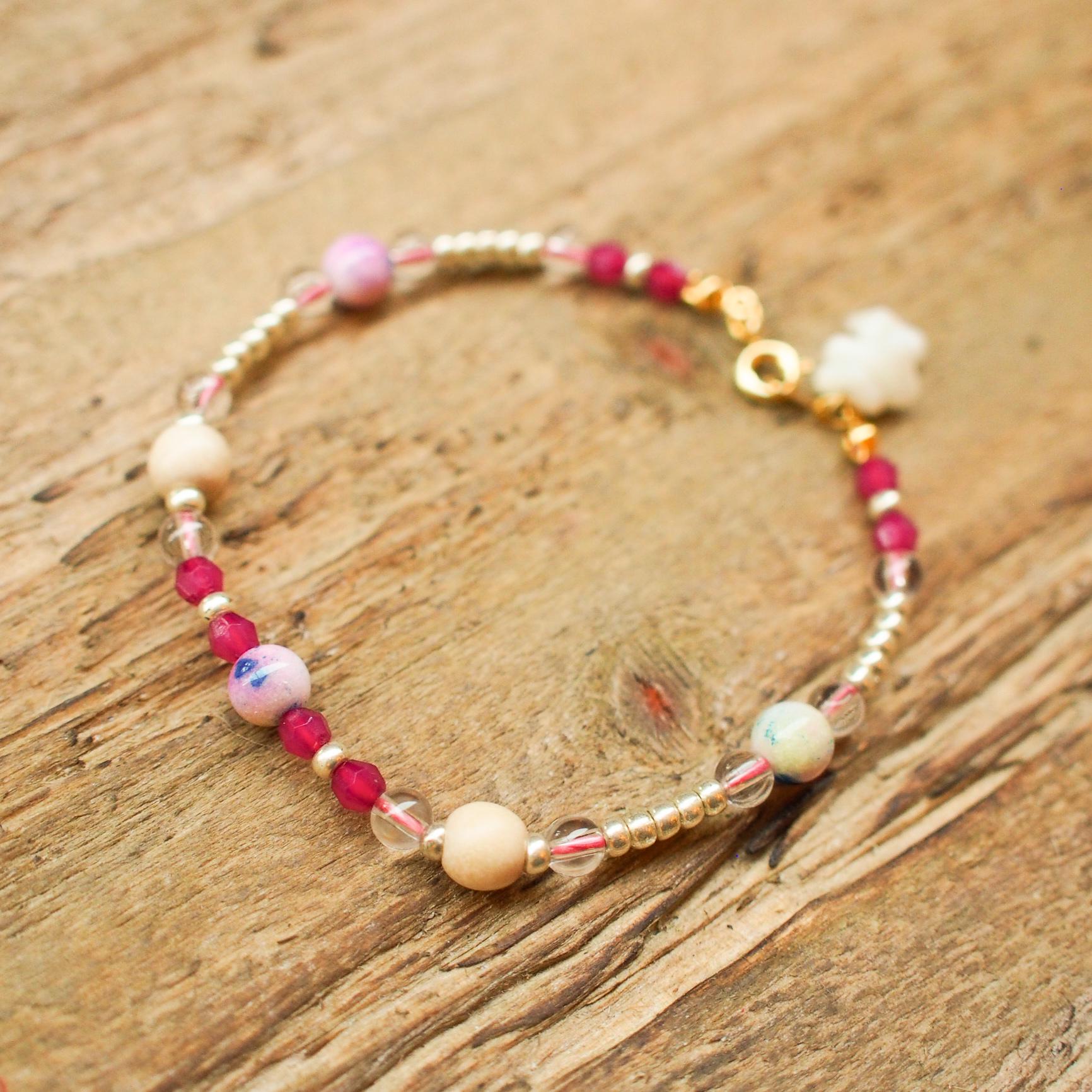 【Crystal】×【Coral】Bracelet