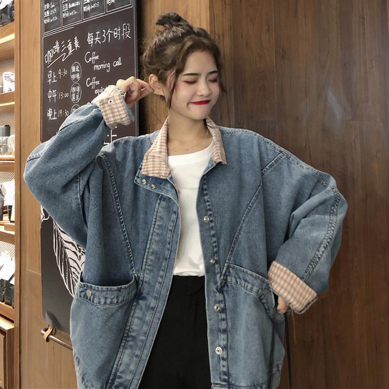 【送料無料】メンズライク♡ オーバーサイズ チェック デニムジャケット