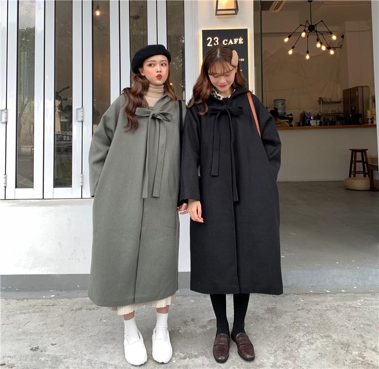 【送料無料】リボンがかわいい♡ フード付き ロング丈 コート