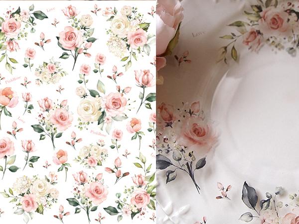 【ガラス用】 水彩 ピンクローズ転写紙 A4サイズ(ポーセラーツ転写紙 薔薇)