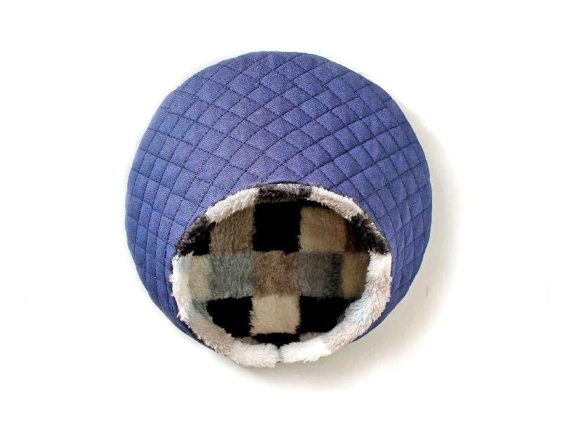 ハリちゃんのおやすみベッド(冬用) デニム×モノクロチェック