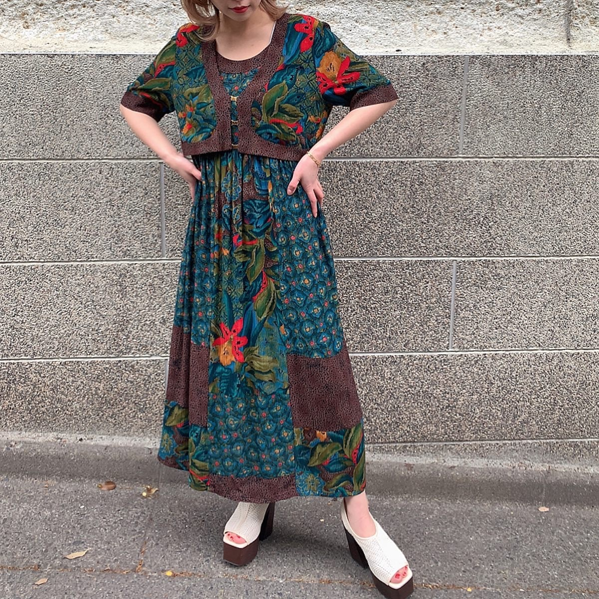 Made in USA 80's Vintage Rayon ONE PIECE