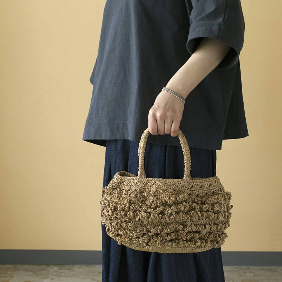 M2 エムツー ラフィア手編みバッグ