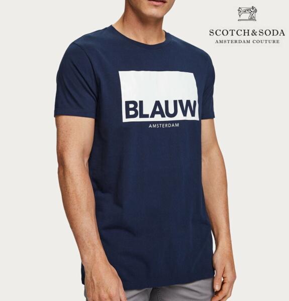 スコッチ&ソーダ SCOTCH&SODA 半袖 Tシャツ クルーネック ロゴ TシャツNAVY 282-14412