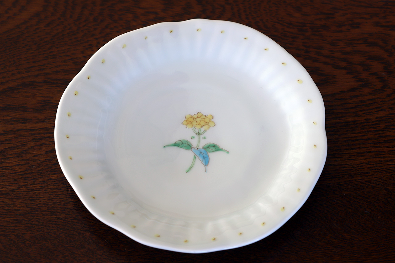 藍水 一つ花菜の花 銘々皿 うつわ藍水(波佐見焼)
