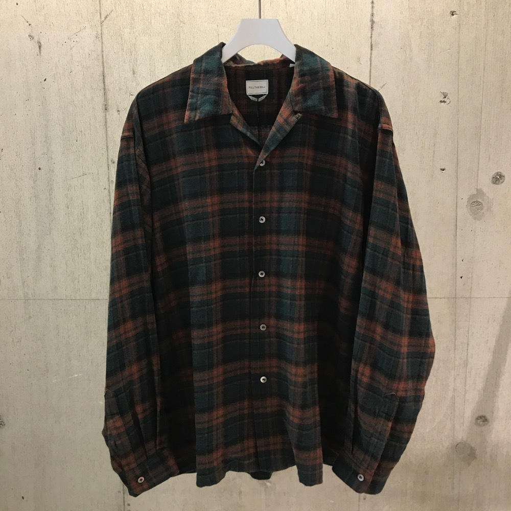 FILL THE BILL  FLANNEL CHECK OPEN COLLAR SHIRT GREEN