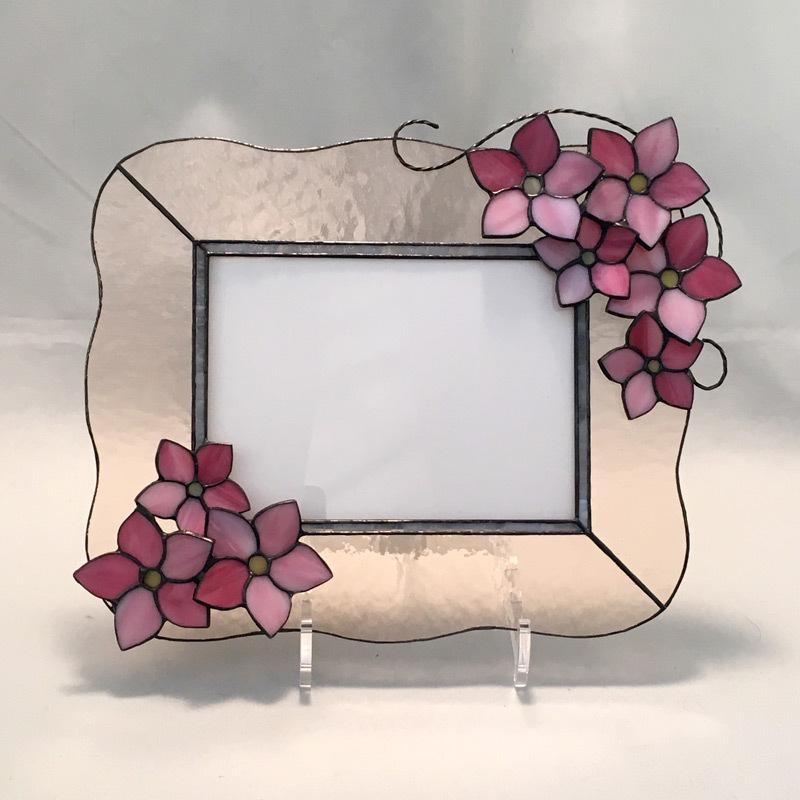 YY021 ピンクの花のフォトフレーム