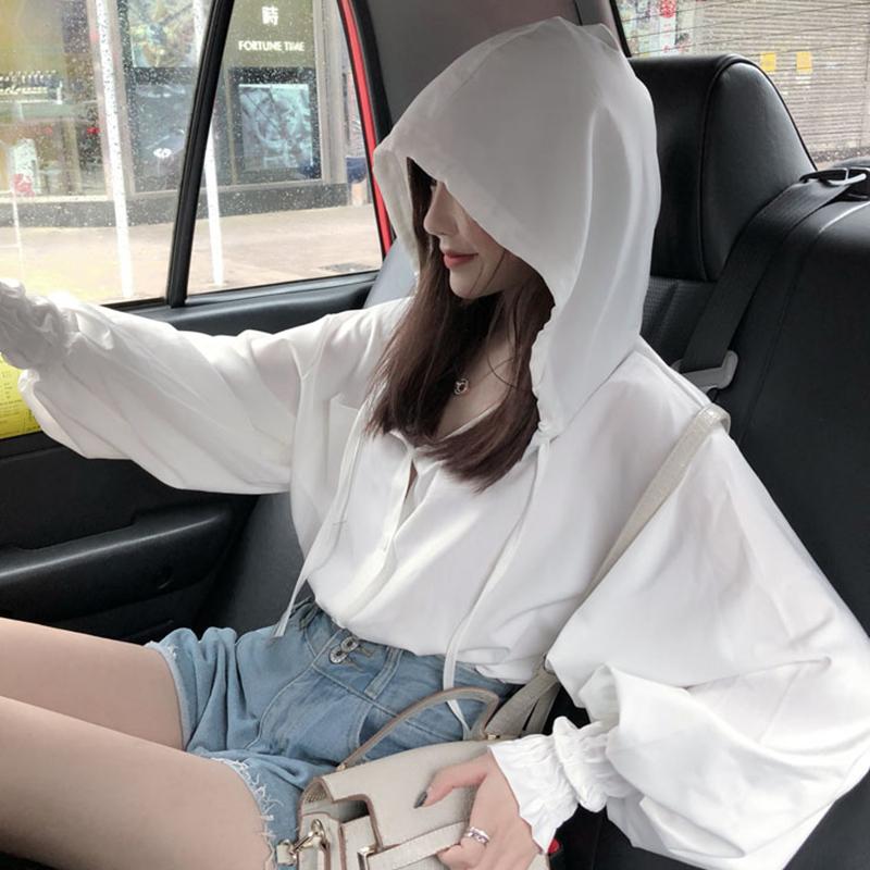 【送料無料】 お洒落カジュアル♡ フード付き シャツ ボリューム袖 ショート丈 トップス