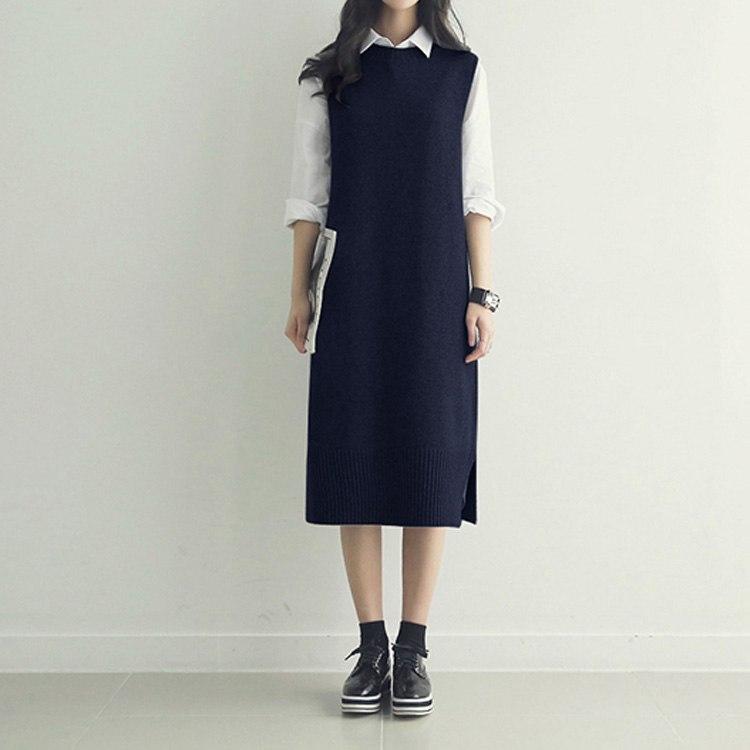 c38d5614f6e6c ドレス 新着 2019 韓国ファッションストレートニットセーター ドレス ノースリーブ ミディ 秋 冬 タンクドレス ベルト.  当店ご挨拶