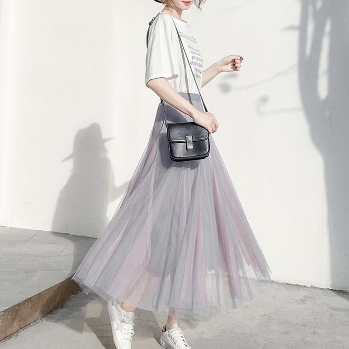 ツートンカラー プリーツ スカート 2カラー b239
