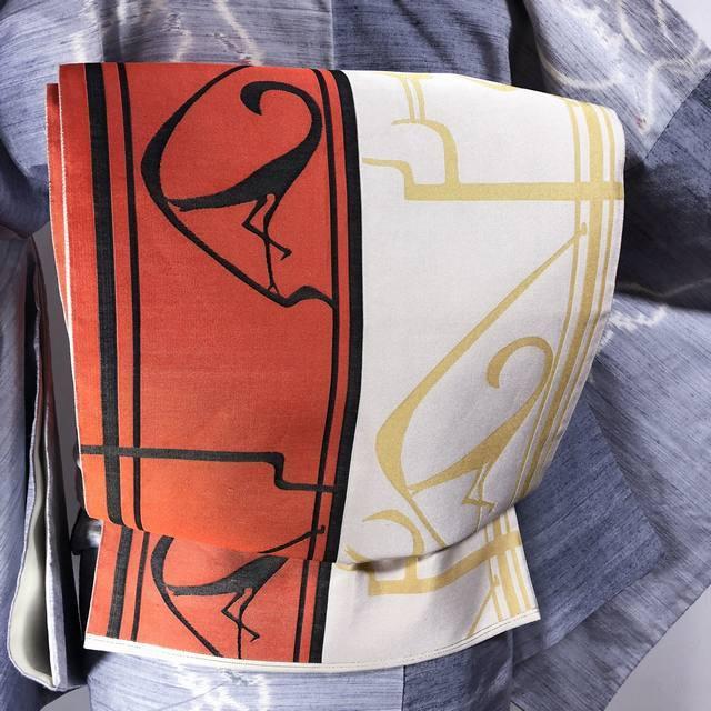 洒落袋★ツートンカラー全通 ライン模様の鳥 レンガ色×ゴールドベージュ