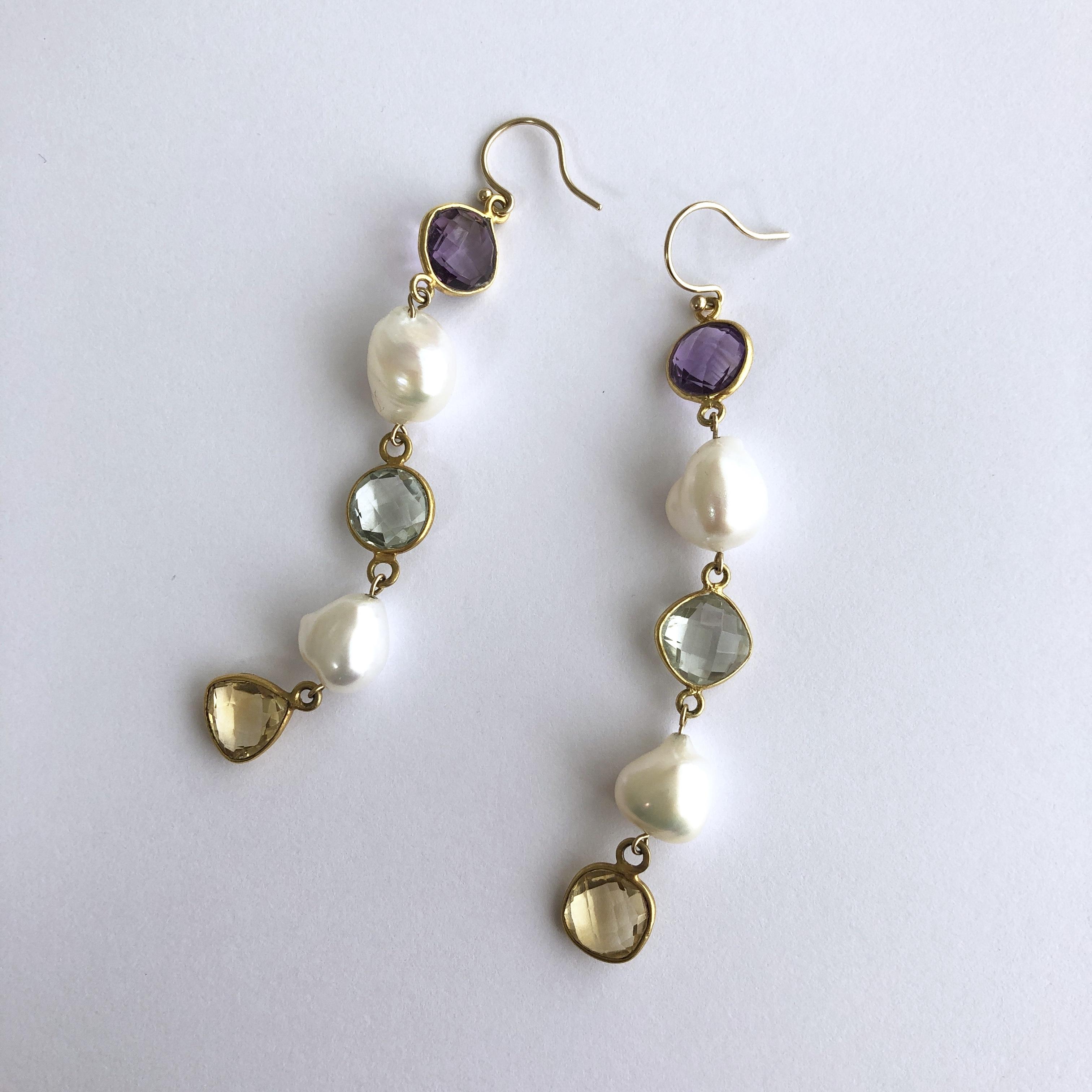 Color Gem x Baroque Pearl Pierces  Five - 001 / K10YG・Pair