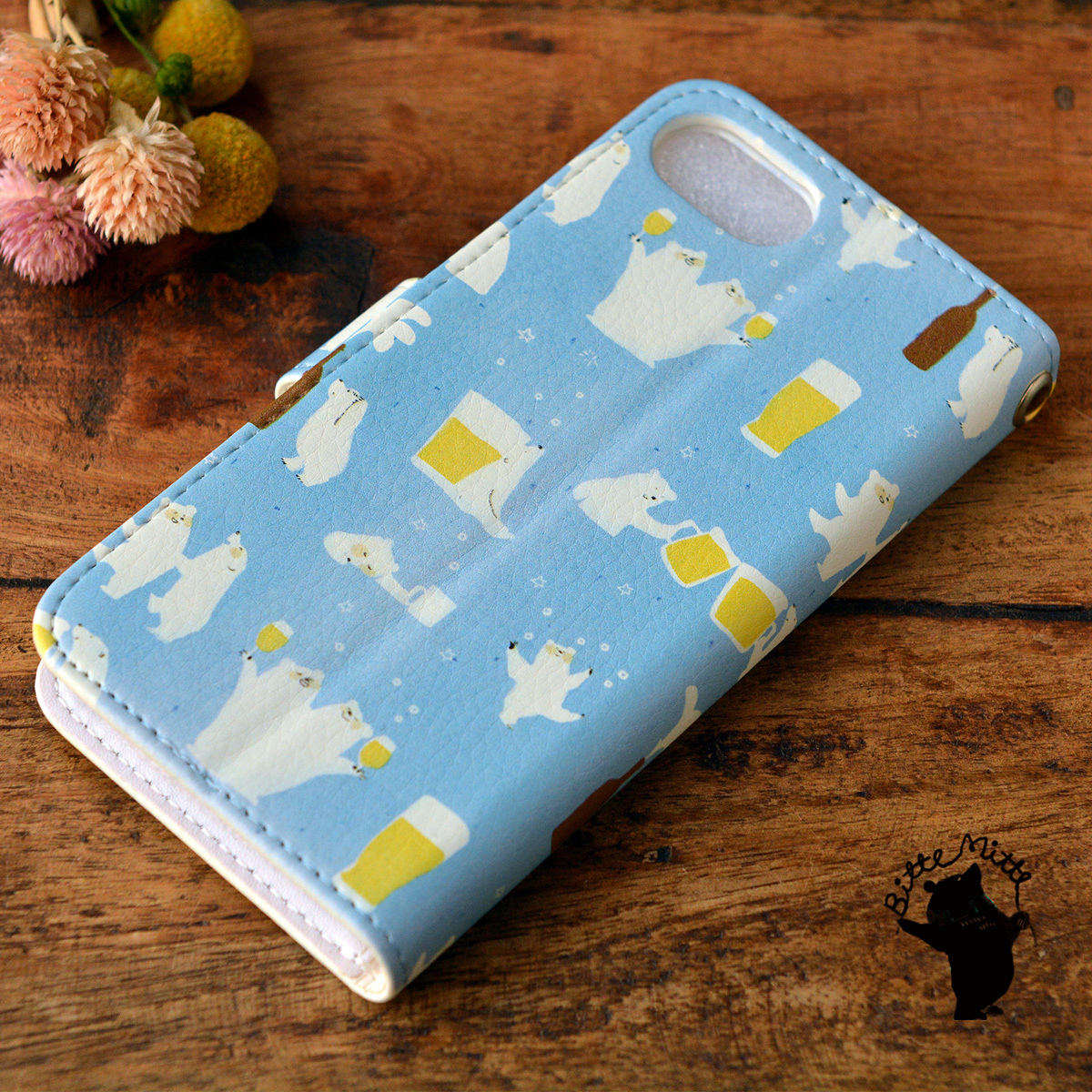 【訳あり】アイフォン6s ケース 手帳型 かわいい iphone6s ケース 手帳 大人かわいい iphone6s ケース 手帳 シンプル かわいい シロクマとビール/Bitte Mitte!【bm-iph6t-10089-B2】