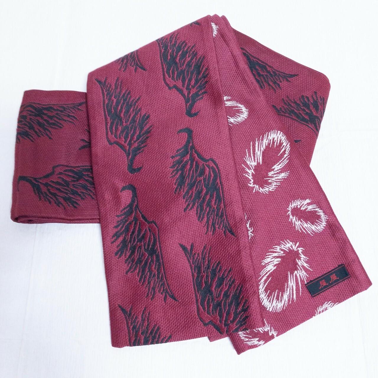 リバーシブル半幅帯 羽根柄 ロングサイズ 紫みのあるエンジ色