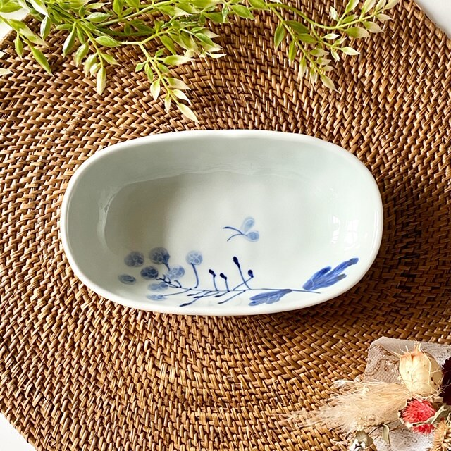 花もよう(菜の花) オーバル鉢(小)