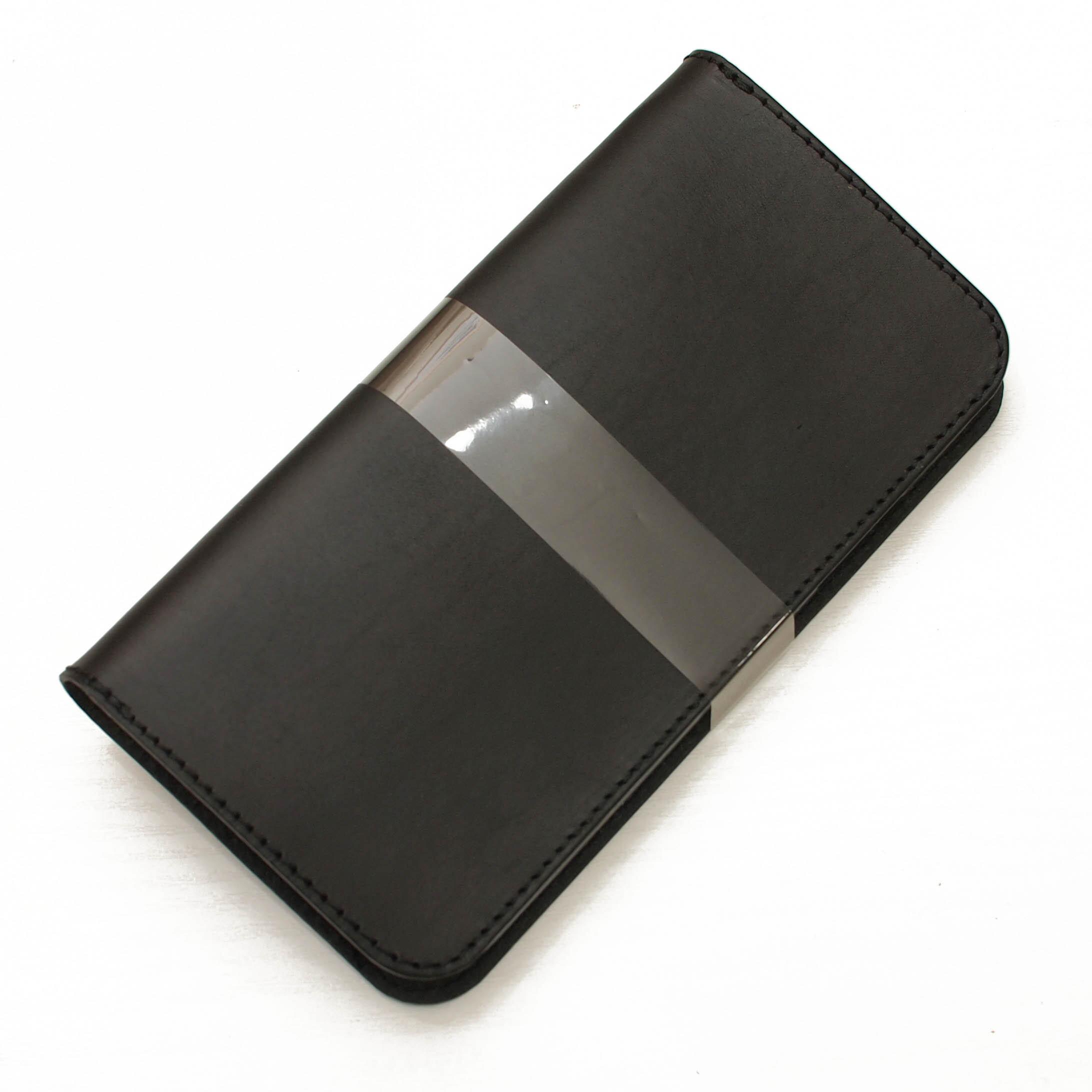 ほぼ全機種製作ブラック手帳型スマホケース国産牛革 iPhone XPERIA Galaxyなど