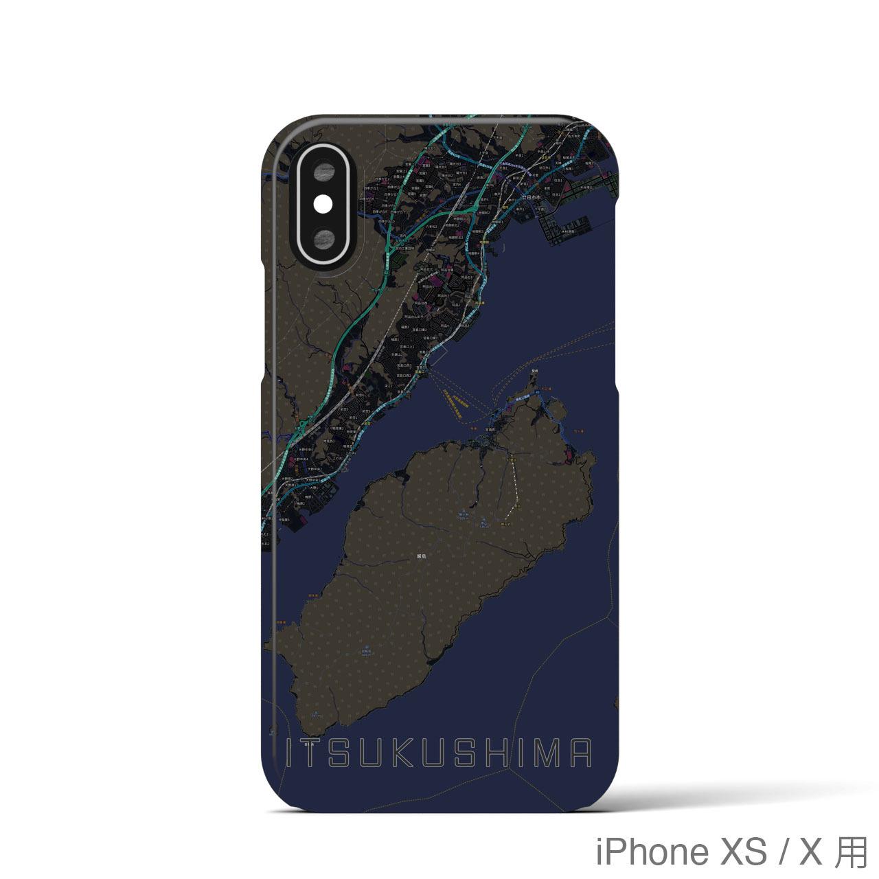 【厳島】地図柄iPhoneケース(バックカバータイプ・ブラック)