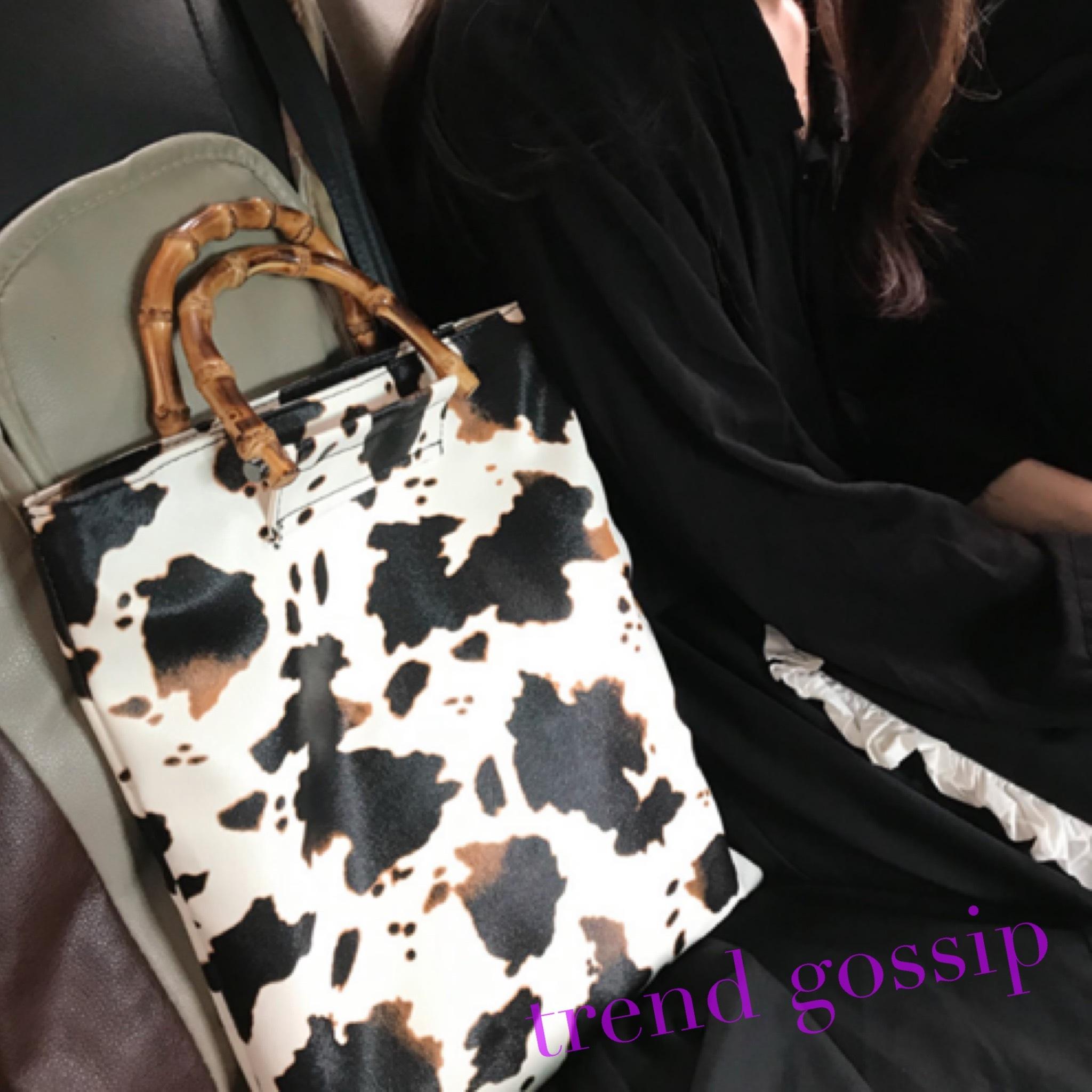 バンブーハンドルカウ柄トートバッグ/鞄/Bag/2020SS