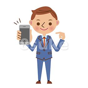イラスト素材:スマートフォンを持つビジネスマン(ベクター・JPG)