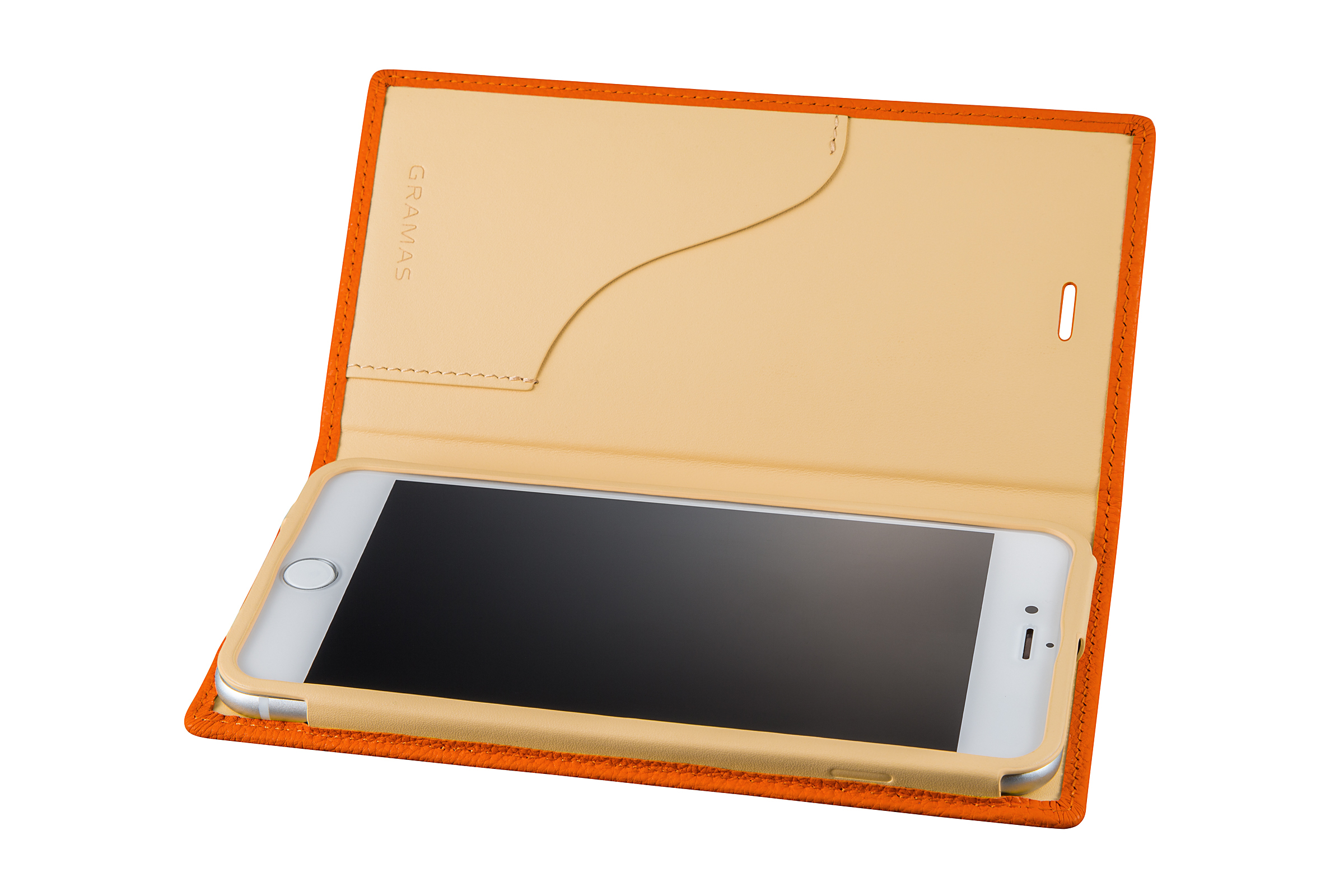 GRAMAS Shrunken-calf Full Leather Case for iPhone 7 Plus(Orange) シュランケンカーフ 手帳型フルレザーケース - 画像3