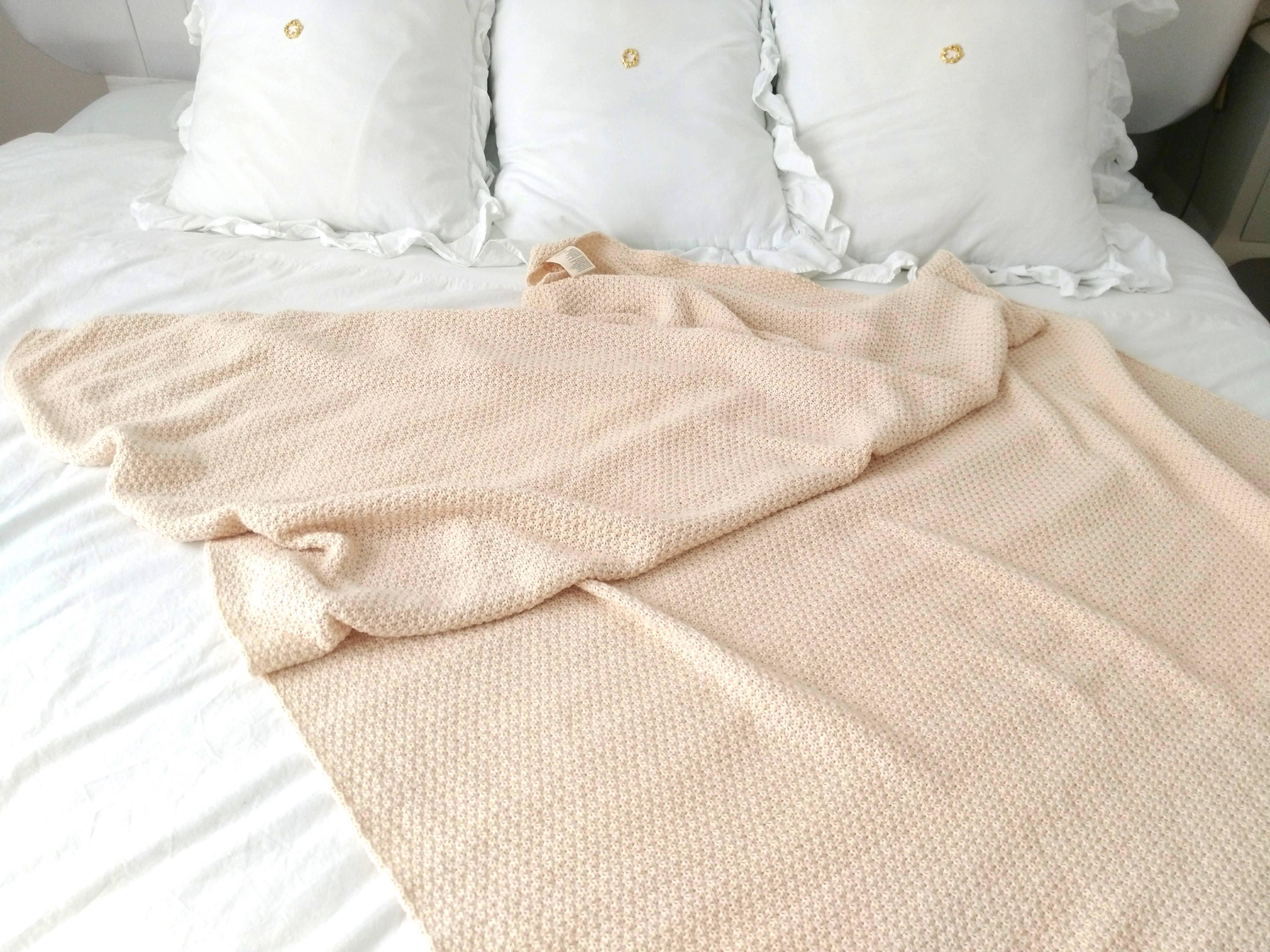 Organic cotton100% Knitting Blancket  オーガニックコットン100% 立体編みの大きめブランケット