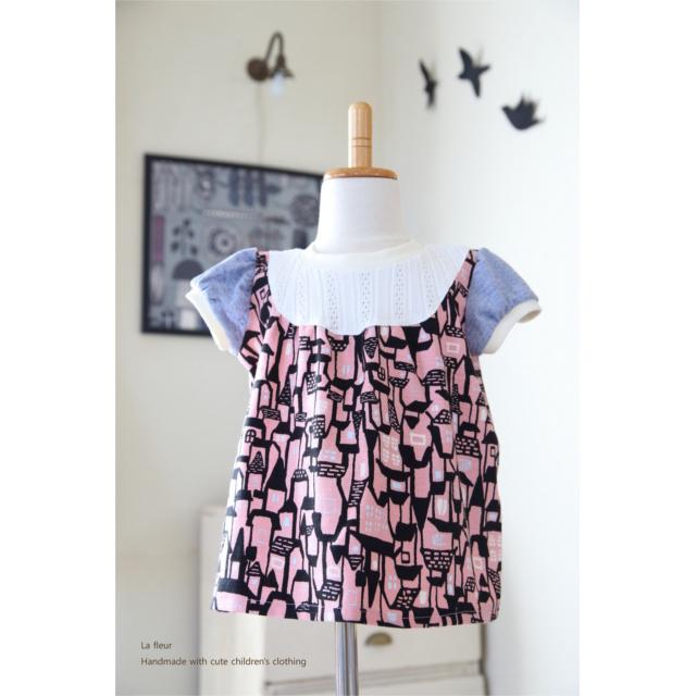 【90】パフスリーブのAラインTシャツ*ハウス柄ピンク 北欧風 レースニット/Lafleur