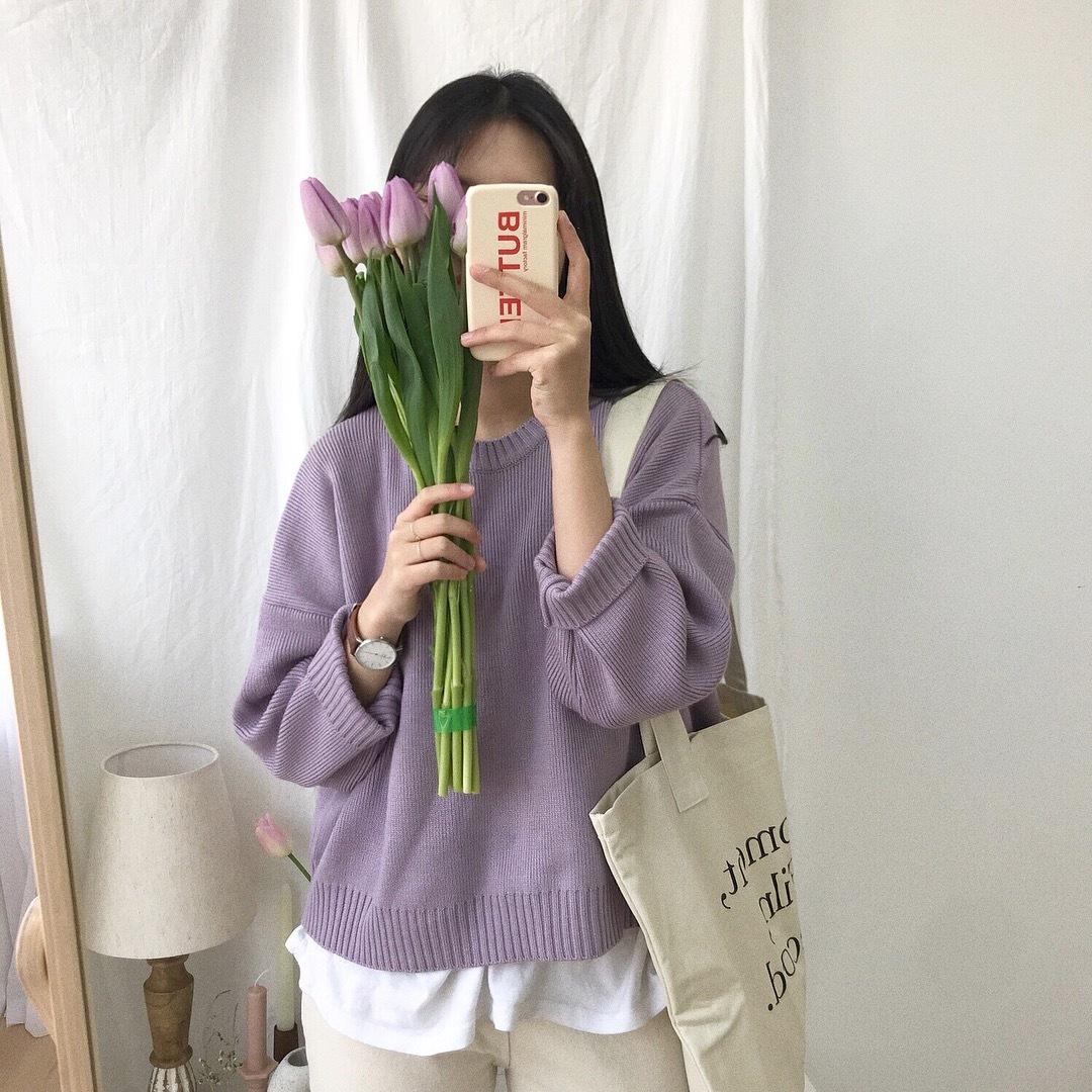 【送料無料 】春先取り ♡ パステルカラー 大人可愛い 無地 シンプル 丸首 ニット セーター トップス