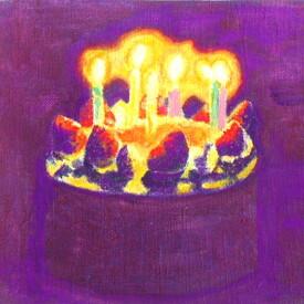 絵画 絵 ピクチャー 縁起画 モダン シェアハウス アートパネル アート art 14cm×14cm 一人暮らし 送料無料 インテリア 雑貨 壁掛け 置物 おしゃれ イラスト 現代アート  ロココロ 画家 : なったこ 作品 : バースデーケーキ