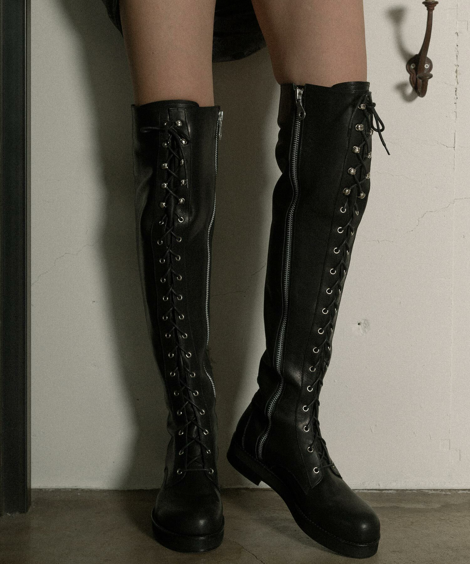 hs19SS-IRS01 LEATHER LONG BOOTS (black)
