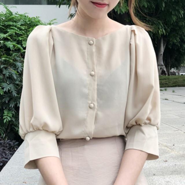 今季トレンド☆ 袖コンシャス カシミヤ ブラウス ギャザー 五分袖 透け感